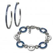Amello Edelstahlschmuckset Emaille Oval blau Armband, Ohrringe ESSG05B