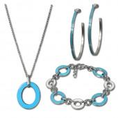Amello Edelstahlschmuckset Emaille türkis Armband, Ohrringe, Kette ESSG02T