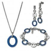 Amello Edelstahlschmuckset Emaille blau Kette, Armband, Ohrringe ESSG01B