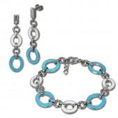 Amello Edelstahlschmuckset Emaille oval türkis Armband, Ohrringe ESSG08T