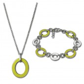 Amello Edelstahlschmuckset Emaille Oval gelb Kette, Armband ESSG07Y