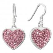 SilberDream Ohrhnger Glitzer Herz Zirkonia rosa 925 Silber SDO8600A