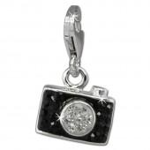 SilberDream Glitzer Charm Fotoapparat schwarz Zirkonia Kristalle GSC560S