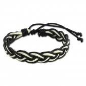 SilberDream Unisex Lederarmband schwarzweiß Knotenverschluß Armband LAP533S
