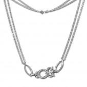 SilberDream Kette Eule Zirkonia wei 925er Silber 44cm Halskette SDK424W
