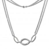 SilberDream Kette Oval Zirkonia wei 925er Silber 45cm Halskette SDK425W