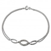 SilberDream Armband Oval Zirkonia wei 925er Sterling Silber 19cm SDA425W