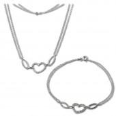 SilberDream Schmuckset Herz Zirkonia Kette Armband 925 Silber SDS423W