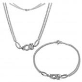 SilberDream Schmuckset Eule Zirkonia Kette Armband 925 Silber SDS424W
