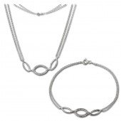 SilberDream Schmuckset Oval Zirkonia Kette Armband 925 Silber SDS425W