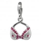 SilberDream Charm BH Zirkonia rosa 925 Silber Armband Anhänger FC863A