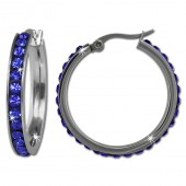 Amello Creole 30mm Edelstahl Swarovski Elements blau Damen Ohrring ESOS04B