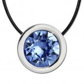 Amello Edelstahlset Swarovski Elements Zirkonia blau mit Lederkette ESSS01H