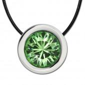 Amello Edelstahlset Swarovski Elements Zirkonia grün mit Lederkette ESSS01L