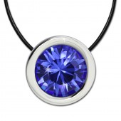 Amello Edelstahlset Swarovski Elements Zirkonia blau mit Lederkette ESSS01B