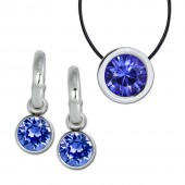 Amello Edelstahl Schmuckset Ohrring Kette Swarovski Elements blau ESSS02B