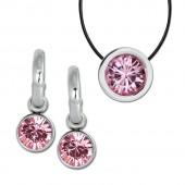 Amello Edelstahl Schmuckset Ohrring Kette Swarovski Elements rosa ESSS02A