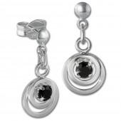 SilberDream Ohrring Doppelring Zirkonia schwarz 925 Ohrhnger SDO580S