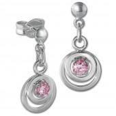 SilberDream Ohrring Doppelring Zirkonia rosa 925 Ohrhnger SDO580A