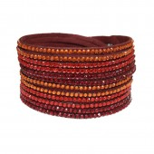SilberDream Wickelarmband Kristall rot Armband im Lagenlook SDA040D