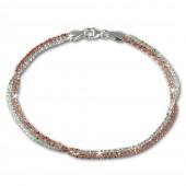 SilberDream Bicolor Armband gedreht Rose vergoldet und 925 Silber Damen SDA2169T