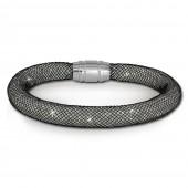 SilberDream Glitzerarmband Minikristalle schwarzwei 18cm Armband SDA050K9
