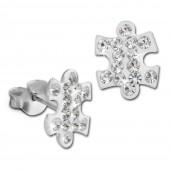 SilberDream Ohrstecker Puzzle Zirkonia wei 925er Silber Ohrring SDO8033W