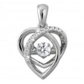 SilberDream Ketten Anhänger Herz Dancing Stone Zirkonia 925er Silber DSH107W