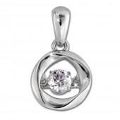 SilberDream Ketten Anhänger Dancing Stone Zirkonia 925er Sterling Silber DSH104W