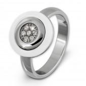 Amello Edelstahl Ring Keramik weiß Zirkonia Gr.54 Edelstahlschmuck ESRX31W54