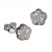 SilberDream Ohrring Blume weiß 925er Silber Ohrstecker GSO2905J