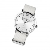 BrunoBanani Damen-Herren Armbanduhr Analog TextilNylon-Armband weiß UBR30051