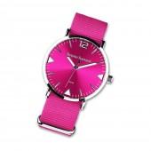 Bruno Banani Damen-Herren Armbanduhr Analog TextilNylon-Armband pink UBR30054