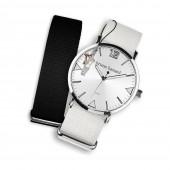 Bruno Banani Uhren Set Analog-Uhr Armband TextilNylon weiß-schwarz UBRS51SC