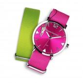 Bruno Banani Uhren Set Analog-Uhr Armband TextilNylon pink-grün UBRS54GR