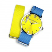 Bruno Banani Uhren Set Analog-Uhr Armband TextilNylon blau,gelb UBRS66GE