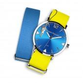 Bruno Banani Uhren Set Analog-Uhr Armband TextilNylon gelb-blau UBRS67BL