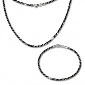 SilberDream Schmuckset gedreht schwarz Kette Armband 925 Silber SDS203S