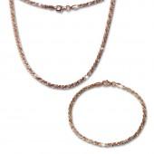 SilberDream Schmuckset gedreht Rose vergoldet Kette Armband 925 Silber SDS203E