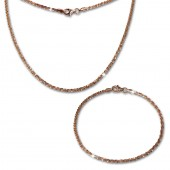 SilberDream Schmuckset gedreht Rose vergoldet Kette Armband 925 Silber SDS205E