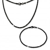 SilberDream Schmuckset gedreht schwarz Kette Armband 925 Silber SDS205S