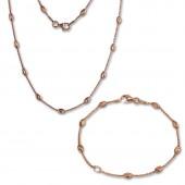 SilberDream Schmuckset Glamour Rose vergoldet Kette Armband 925 Silber SDS238E