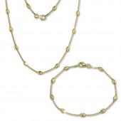 SilberDream Schmuckset Glamour vergoldet Kette Armband 925 Silber SDS238Y