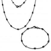 SilberDream Schmuckset Glamour schwarz Kette Armband 925 Silber SDS238S
