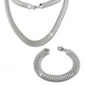 SilberDream Schmuckset Geflecht Kette Armband 925er Sterling Silber SDS201J