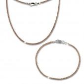 SilberDream Schmuckset Zopf Rose vergoldet Kette Armband 925 Silber SDS206E
