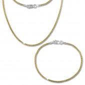 SilberDream Schmuckset Zopf vergoldet Kette Armband 925 Silber SDS206Y