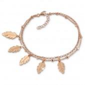 SilberDream Doppel-Armband Bltter 925 Silber rosvergoldet Damen 18cm SDA1158E