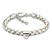 SilberDream Lederarmband weiß für Charms 925 Silber Armband FC0036W